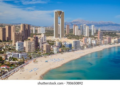 Panorama of Benidorm city with sandy beach and skyscrapers