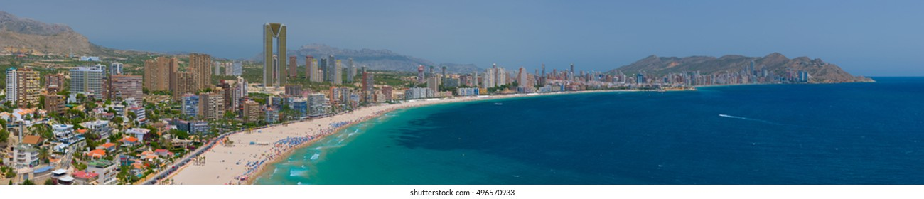 Panorama of Benidorm in a sunny summer day