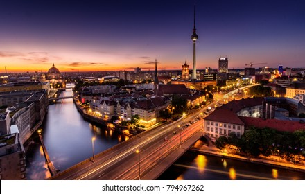 A panorama of Berlin just after sunset