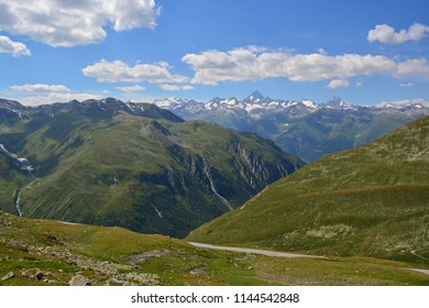 Panorama of the Bernese Alps from the Nufenen Pass in Southern Switzerland. In the centre the great Finsteraarhorn