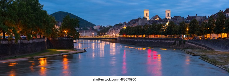 Panorama of Besancon in a summer night