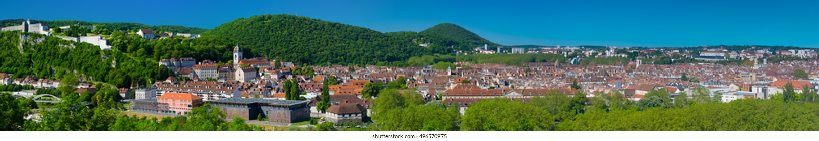 Panorama of Besancon in a sunny summer day