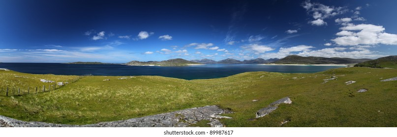 Panorama between North and South Harris in summer