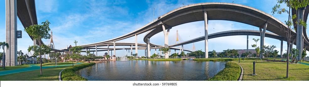 Panorama of Bhumibol Bridge also casually call as Industrial Ring Road Bridge, Samut Prakarn,Thailand