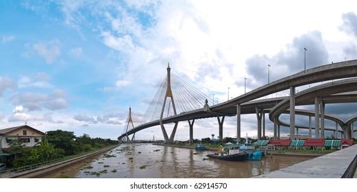 Panorama of Bhumibol Bridge(Industrial Ring Road Bridge), Samut Prakarn,Thailand