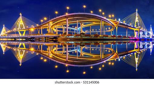 Panorama of Bhumibol suspension Bridge in Thailand.