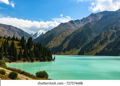 Panorama of the Big Almaty Lake. Almaty. Kazakhstan