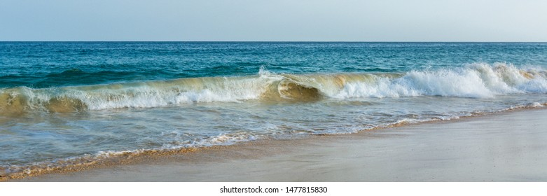 Panorama of big waves on blue ocean and wide beach in Sal island Cabo Verde, Cape Verde