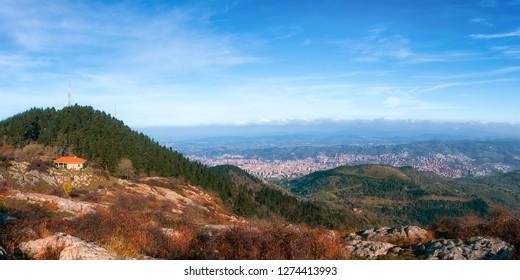 Panorama of Bilbao city from Pagasarri mountain