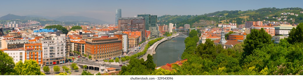 Panorama of Bilbao in a summer day