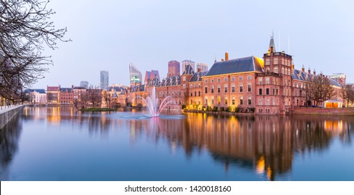Panorama of Binnenhof palace, place of Parliament in The Hague, of Netherlands at dusk