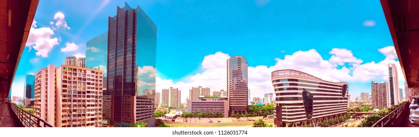 Panorama bird view over cityscape with sunset and clouds in the morning.Copy space.Bangkok.Pastel tone.
