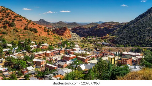 Panorama of Bisbee with surrounding Mule Mountains in Arizona. This historic mining town was built early 1900s and is the county seat of Cochise County.