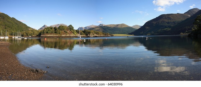 Panorama of Bishops Bay,Ballachulish in the Highlands of Scotland.