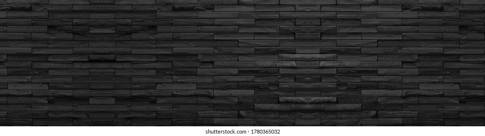 panorama black brick wall of dark stone texture and background ,paranomic stone floor wide picture