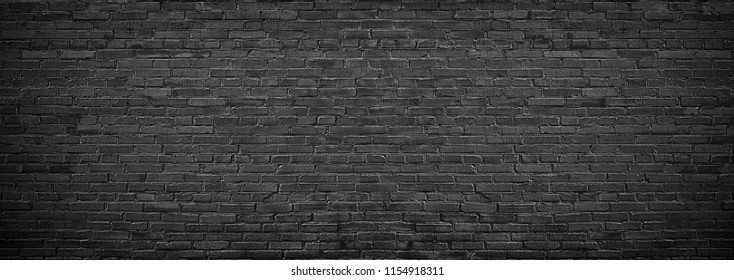 panorama of black brick wall for site caps as background