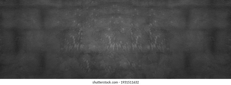 Panorama Black cement wall texture background for design in your work concept backdrop.
