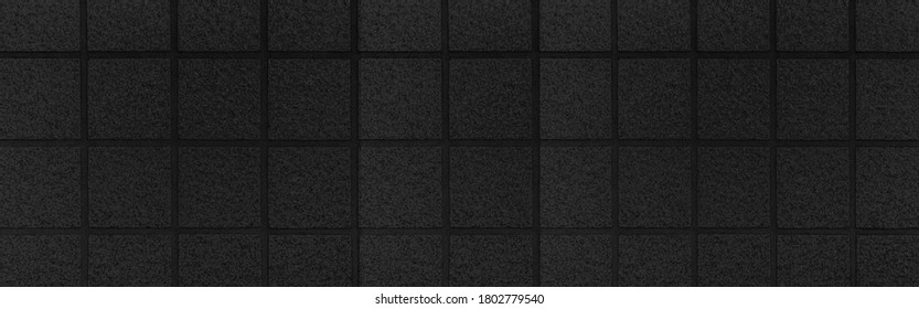 Panorama of Black rubber tile for flooring texture and seamless background , Rubber tile floor pattern and background