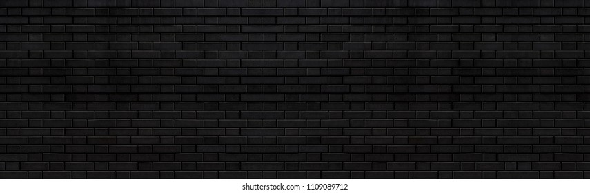 Panorama of Black stone brick texture and background