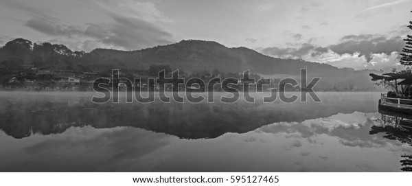 Panorama Black and White , Reservoir at the Sunrise time , Locations Rak Thai village , Mae Hong Son province , Thailand