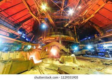 Panorama of blast furnace workshop of metallurgical plant
