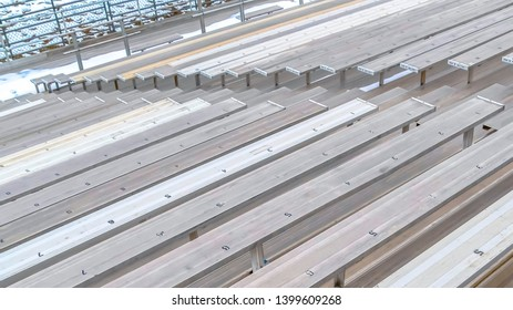 Panorama Bleachers with numbers on the surface viewed on a sunny winter day