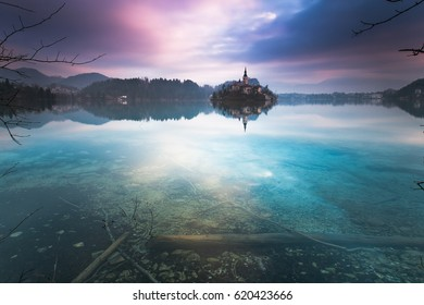 Panorama of Bled Lake,Slovenia.Europe