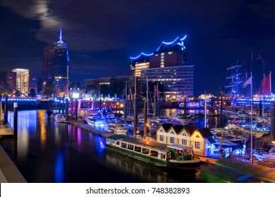 Panorama of the blue Harbour of Hamburg Germany at night