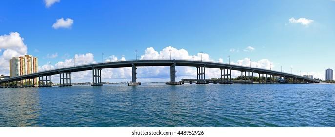 Panorama of the Blue Heron Bridge connecting to Singer Island, Florida