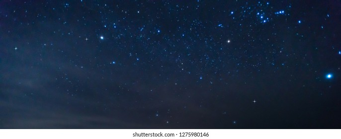 Panorama blue night sky milky way and star on dark background.Universe filled with stars, nebula and galaxy with noise and grain.star
