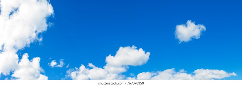 Panorama blue sky abtract background with white clouds