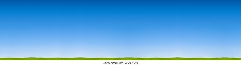 panorama blue sky horizon with grass