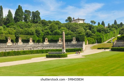 Panorama of the Boboli Gardens in Florence, Italy
