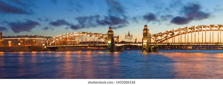 Panorama of the Bolsheokhtinsky (Peter the Great) Bridge on a white night. Saint-Petersburg, Russia