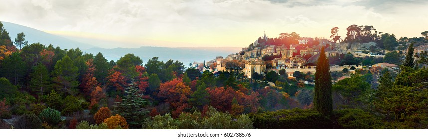 "Panorama of Bonnieux village. Provence-Alpes-Cote d'Azur region in southeastern France. Bonnieux village is included in list of ""The most beautiful villages of France"""