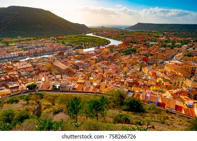Panorama Bosa, town and comune in the province of Oristano, Sardinia region, Italy. Beautiful and colorful photo of old architecture.