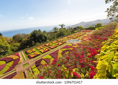 Panorama of the botanical garden on Monte in Funchal on the island Madeira of Portugal