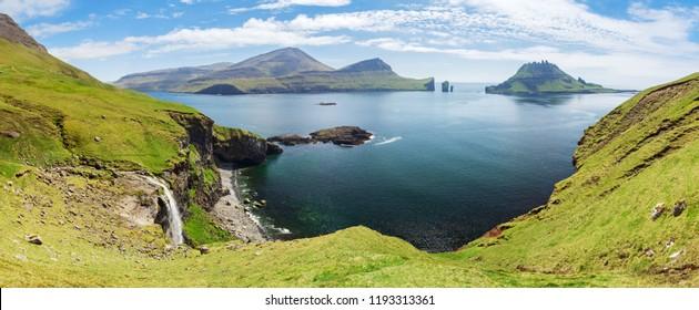 Panorama of Bour area, Faroe islands, Denmark