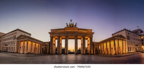 A panorama of the Brandenburger Gate in Berlin, Germany