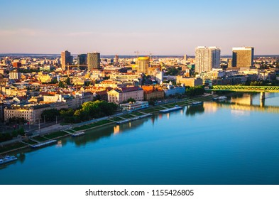 Panorama of Bratislava city from aerial view. Cityscape with Danube river and historical old town