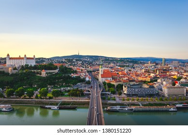 Panorama of Bratislava city at sunset. Summer cityscape