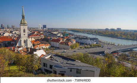 Panorama of Bratislava with the Danube and the Castle building, Slovakia. Aerial view of Bratislava, Slovakia.
