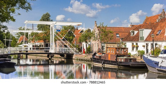 Panorama of bridges over a canal in hisotirc city Edam, Netherlands