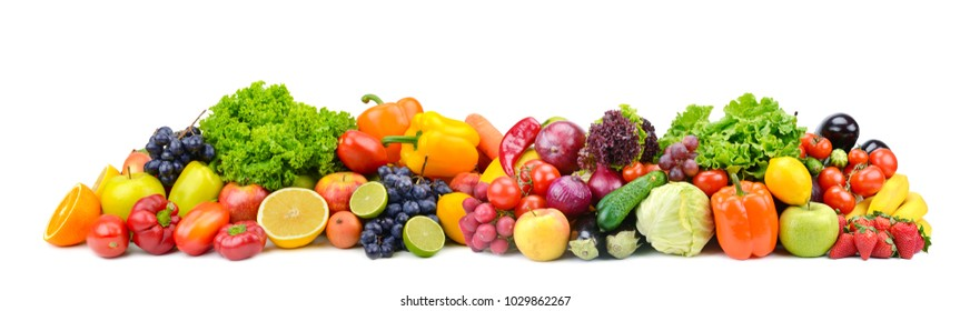Panorama bright vegetables and fruits isolated on white background.