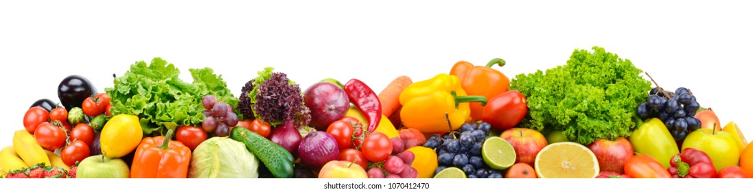 Panorama bright vegetables and fruits isolated on white background. Copy space
