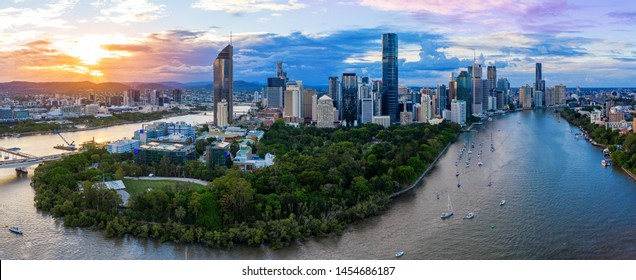 Panorama of Brisbane skyline at sunset, Australia