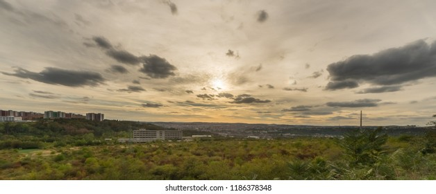 Panorama of Brno city in the summer evening. Dark clouds over city. South Moravia, Czech republic, Europe