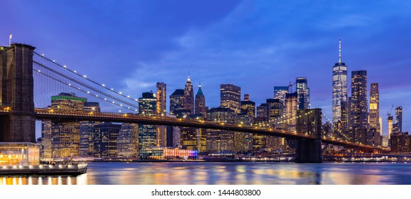 Panorama Brooklyn bridge with Lower Manhattan skyscrapers bulding for New York City in New York State NY , USA
