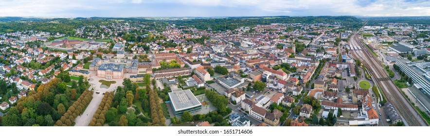 Panorama Bruchsal Germany from above in summer
