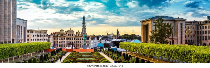 Panorama of Brussels in a beautiful summer day